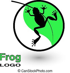 Round logo with a frog on a bright green leaf.