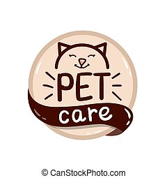 round logo with cat and text pet care