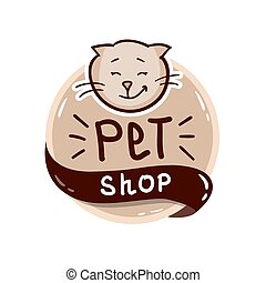 round logo with cat and text pet shop