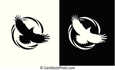 Round Logos with Raven in black and white