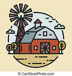 Round logotype with farmland landscape, country house or agricultural building and windmill in line art style. Creative label with rural scenery isolated on light background. Vector illustration.
