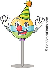 round lollipop isolated with the clown cartoon