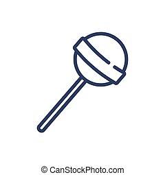 Round lollypop on stick thin line icon. Children, flavor, ...
