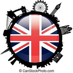 London Skyline Silhouette with britian flag