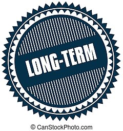 Round LONG TERM blue sticker. Illustration image concept