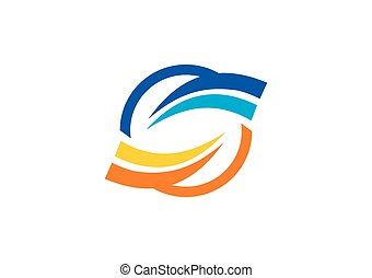 round loop abstract business vector logo