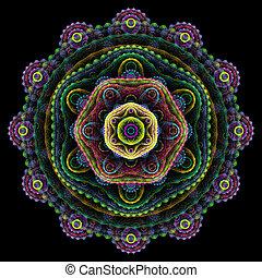 Round mandala on black background