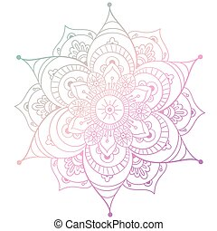 Round mandala on white isolated background. Vector boho mandala in green and pink colors. Mandala with floral patterns. Yoga template
