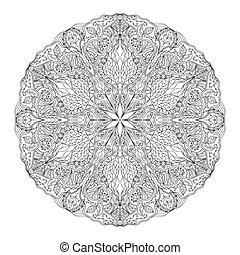 Round Mandala pattern with hand-dra