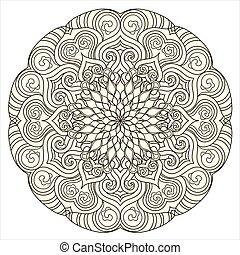Round Mandala pattern with hand-drawn decorative elements.