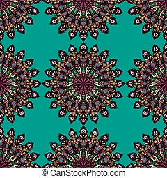 Round mandala seamless pattern. Arabic, Indian, Islamic, Ottoman ornament. Green and red floral pattern, motif.