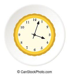 Round mechanical watch icon, flat style