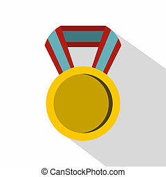 Round medal icon, flat style