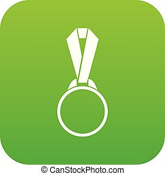 Round medal with ribbon icon digital green