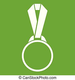 Round medal with ribbon icon green