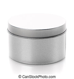 Round metal box close up isolated on white background.