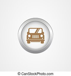 Round metal button with car icon, app icon