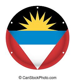 round metal flag of Antigua and Barbuda with holes