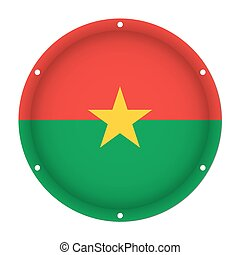 round metal flag of Burkina Faso with screw holes