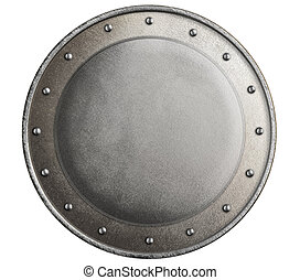 round metal medieval knight's shield isolated