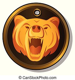 Round metal pendant with the engraved image of the muzzle of a growling bear isolated on white background. Vector cartoon close-up illustration.