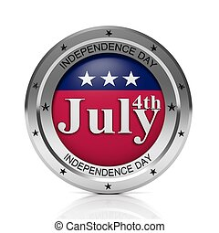Round metallic 4th July badge, isolated on white background.