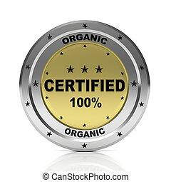 Round metallic badge 100% organic, isolated on white background.