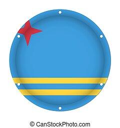 round metallic flag of Aruba with screw holes