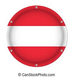 round metallic flag of Austria with screws