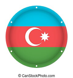 round metallic flag of Azerbaijan with screw holes