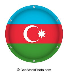 round metallic flag of Azerbaijan with screws