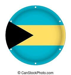 round metallic flag of Bahamas with screw holes