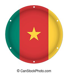 round metallic flag of Cameroon with screw holes