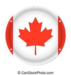 round metallic flag of Canada with screw holes