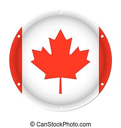 round metallic flag of Canada with screw holes