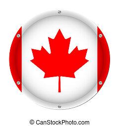 round metallic flag of Canada with screws