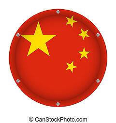 round metallic flag of China with screws