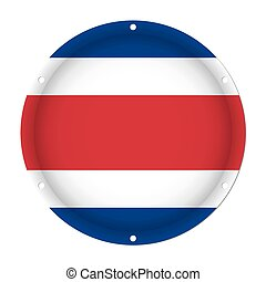 round metallic flag of Costa Rica with screw holes