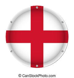 round metallic flag of England with screws