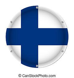 round metallic flag of Finland with screws
