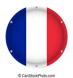round metallic flag of France with screws