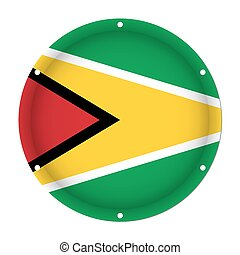 round metallic flag of Guyana with screw holes