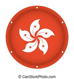 round metallic flag of Hong Kong with screw holes
