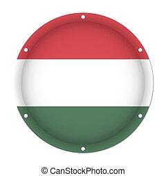 round metallic flag of Hungary with screw holes