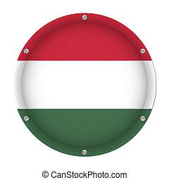 round metallic flag of Hungary with screws