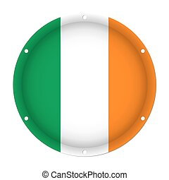 round metallic flag of Ireland with screw holes