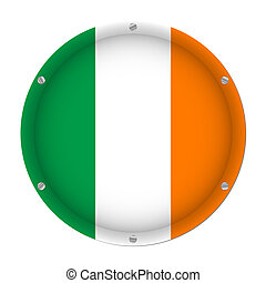 round metallic flag of Ireland with screws
