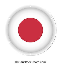 round metallic flag of Japan with screw holes
