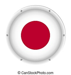 round metallic flag of Japan with screws