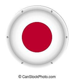 round metallic flag of Japan with screws
